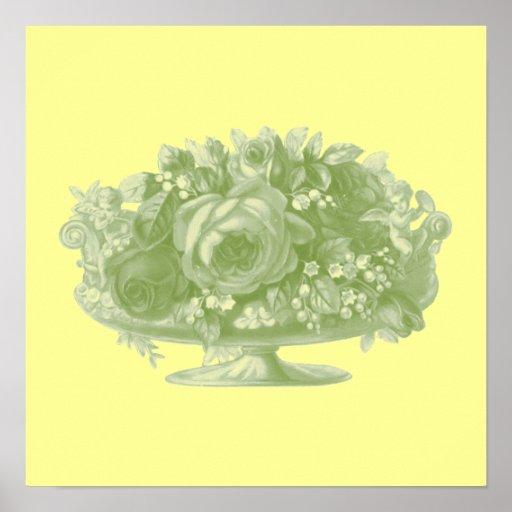 Centro de flores verde del vintage poster