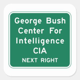 Centro de George Bush, señal de tráfico, Virginia, Pegatina Cuadrada
