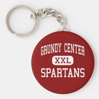 Centro de Grundy - Spartans - alto - centro de Gru Llavero Redondo Tipo Pin