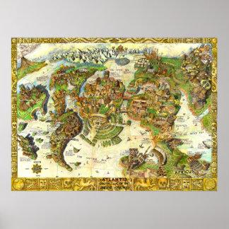 Centro de la Atlántida del mundo antiguo Poster