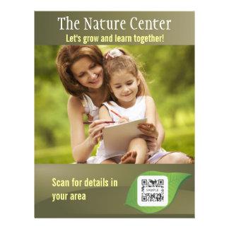 Centro de la naturaleza de la plantilla del aviado tarjetas informativas