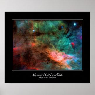 Centro de la nebulosa del cisne póster