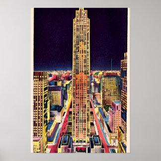 Centro de New York City Rockefeller en la noche 19 Póster
