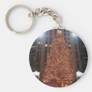 Centro de Rockefeller del árbol de navidad Llavero Redondo Tipo Pin