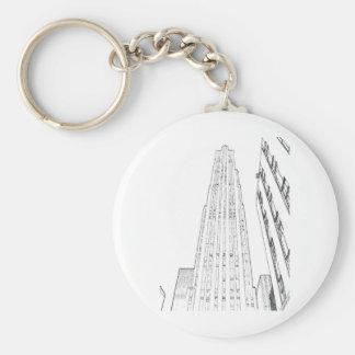Centro de Rockefeller Llavero Redondo Tipo Pin