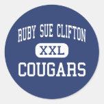Centro de rubíes Houston de los pumas de Sue Clift Pegatinas