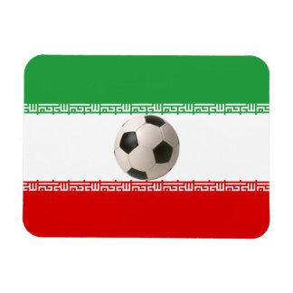 Centro del balón de fútbol de la bandera iraní imán