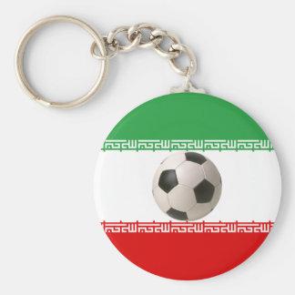 Centro del balón de fútbol de la bandera iraní llavero redondo tipo pin