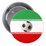 Centro del balón de fútbol de la bandera iraní pin