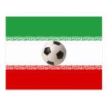 Centro del balón de fútbol de la bandera iraní tarjetas postales