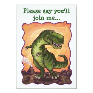 """Centro del fiesta de Rex del Tyrannosaurus Invitación 5"""" X 7"""""""