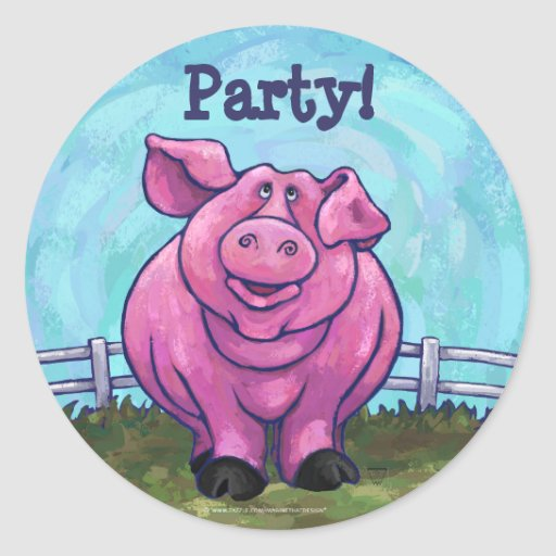 Centro del fiesta del cerdo pegatina redonda