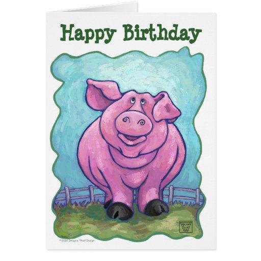 Centro del fiesta del cerdo tarjeta de felicitación