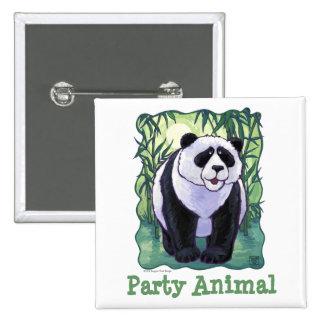 Centro del fiesta del oso de panda pin cuadrado