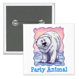 Centro del fiesta del oso polar pin cuadrado