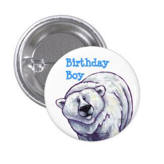 Centro del fiesta del oso polar pin redondo de 1 pulgada