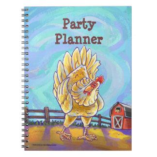 Centro del fiesta del pollo libros de apuntes con espiral