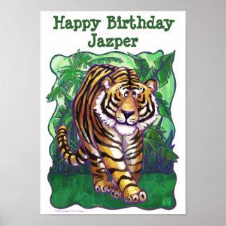Centro del fiesta del tigre póster