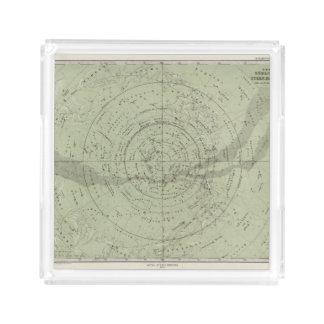 Centro del mapa de cielo meridional bandeja cuadrada