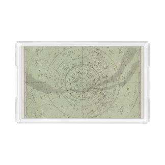 Centro del mapa de cielo meridional bandeja rectangular