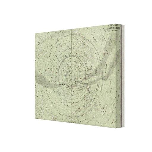 Centro del mapa de cielo meridional lona envuelta para galerías