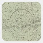 Centro del mapa de cielo meridional pegatina cuadrada