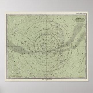 Centro del mapa de cielo meridional póster