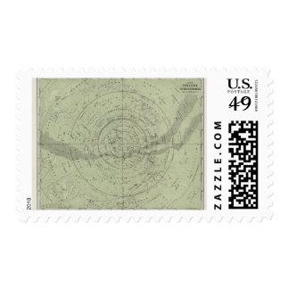 Centro del mapa de cielo meridional sello postal