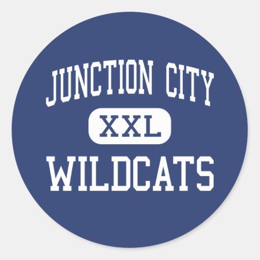 Centro Junction City de los gatos monteses de Pegatina Redonda