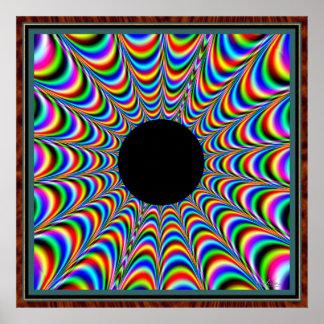 Centro negro de baile con las emisiones del color póster