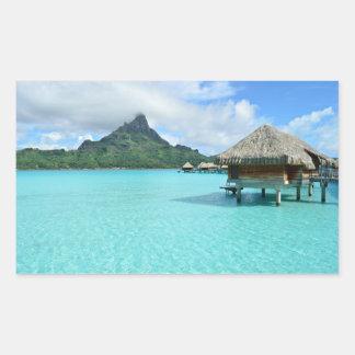 Centro turístico de Overwater en Bora Bora Pegatina Rectangular