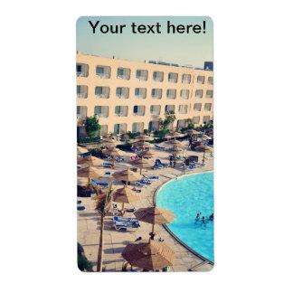 Centro turístico del hotel de Hurghada Etiqueta De Envío