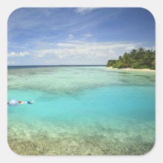 Centro turístico isleño de Bandos, atolón Pegatina Cuadrada