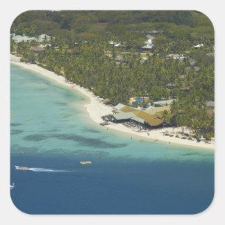 Centro turístico isleño de la plantación, isla 2 pegatina cuadrada