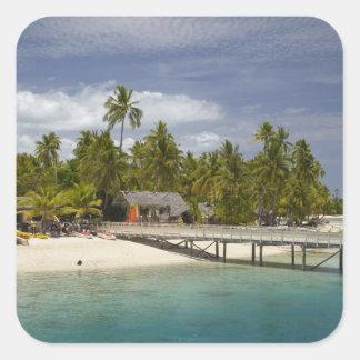 Centro turístico isleño de la plantación, isla 3 pegatina cuadrada