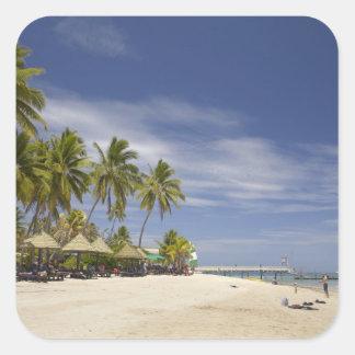 Centro turístico isleño de la plantación, isla 4 pegatina cuadrada