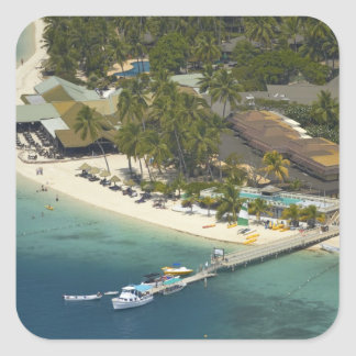 Centro turístico isleño de la plantación, isla de calcomanías cuadradass