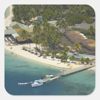 Centro turístico isleño de la plantación, isla de pegatina cuadrada
