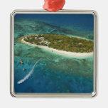 Centro turístico isleño y barco, Fiji del tesoro Adornos De Navidad