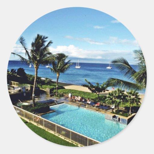 Centros turísticos de Kaanapali - Maui Pegatina Redonda