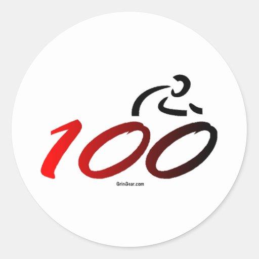 Century bike ride round sticker