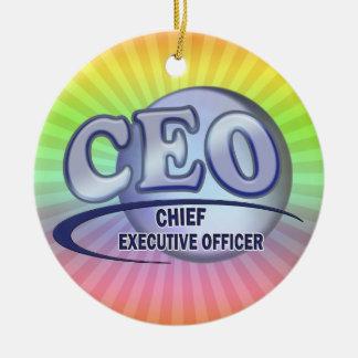 CEO LOGO BLUE CHIEF EXECUTIVE OFFICER CERAMIC ORNAMENT