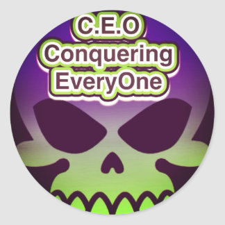 CEO que conquista cada uno #skulls Etiquetas Redondas
