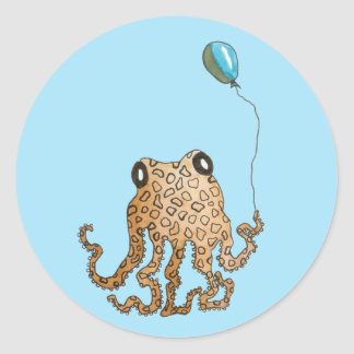 Cephalopod with Balloon (blue) Classic Round Sticker