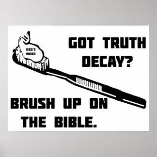 Cepille para arriba en la biblia póster