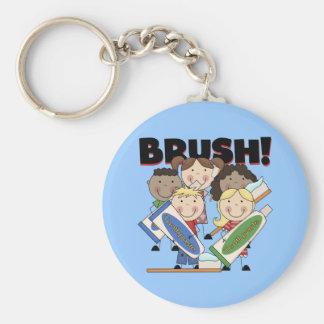 Cepille sus camisetas y regalos de los dientes llavero redondo tipo pin