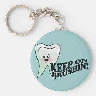 ¡Cepille sus dientes! Llavero Redondo Tipo Pin