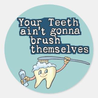 ¡Cepille sus dientes! Pegatina Redonda