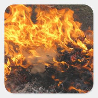 Cepillo ardiente pegatina cuadrada