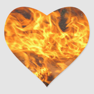Cepillo ardiente pegatina en forma de corazón